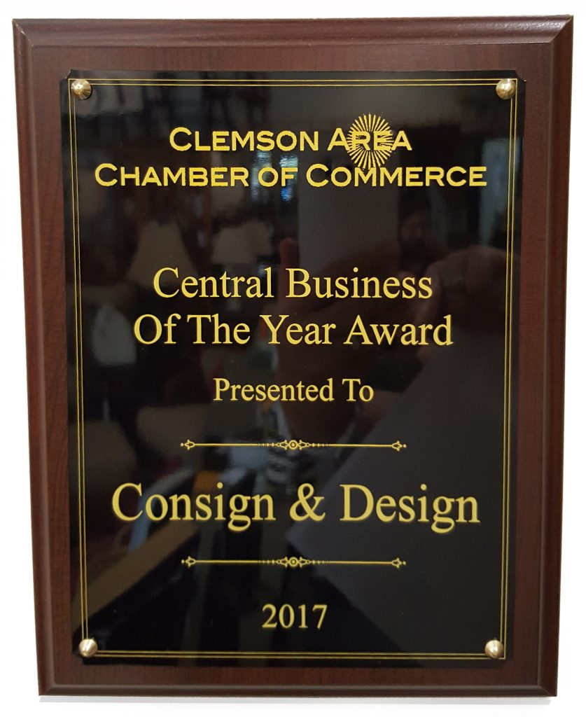 Central Business Of The Year Award Presented to Consign & Design by The Clemson Area Chamber of Commerce!