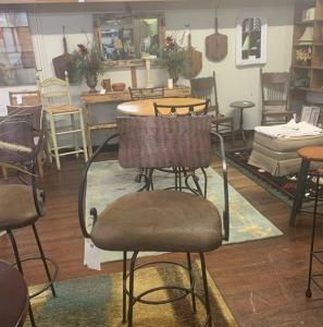 3 metal and leather barstools
