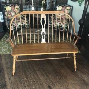 Solid Oak Windsor-style bench
