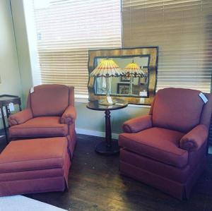 set of chairs and ottoman