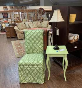 spring green chair and table